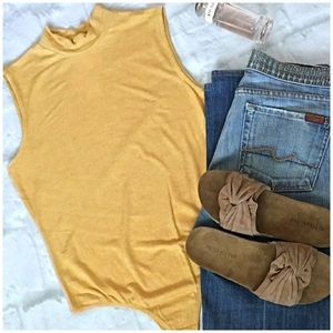 GIANNI BINI Mustard Mock Neck Sleeveless Bodysuit